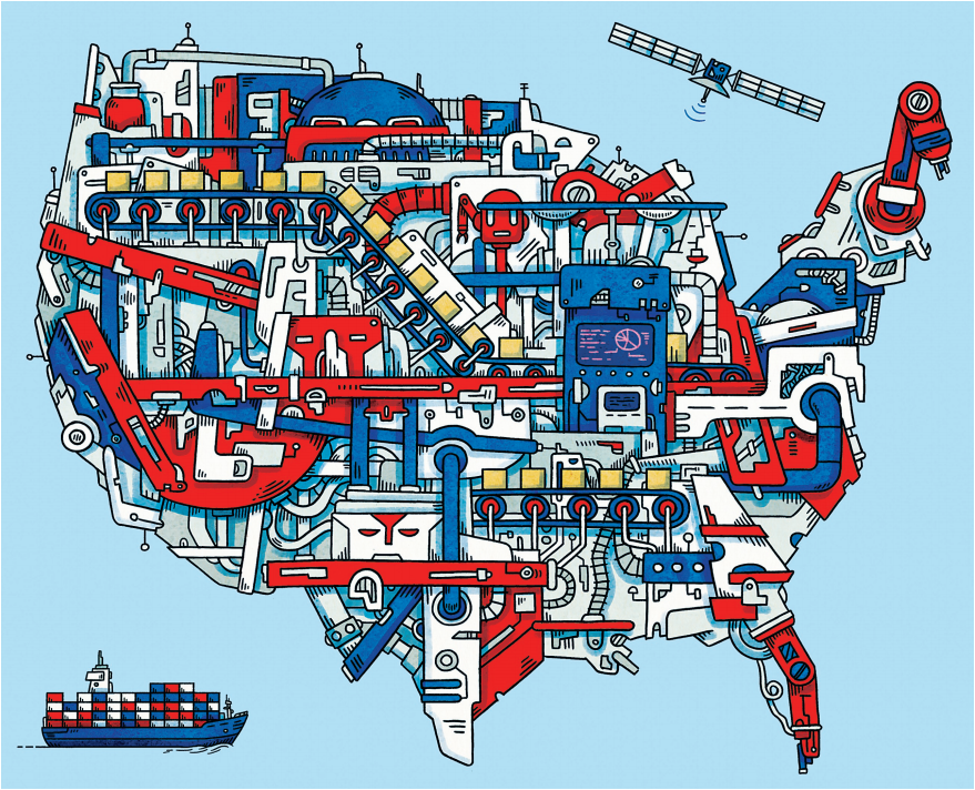 USA map of manufacturing tools and projects in red, white, and blue.